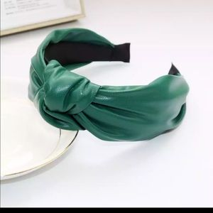 PU leather green headband NWOT